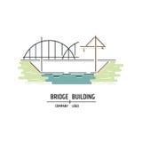 Bridge building company logo. Line art style. Royalty Free Stock Photos
