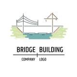 Bridge building company logo. Line art style. Royalty Free Stock Image