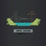 Bridge building company logo. Line art style. Stock Image