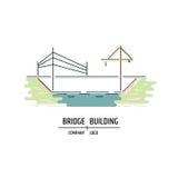 Bridge building company logo. Line art style. Stock Photo
