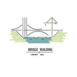 Bridge building company logo. Line art style. Royalty Free Stock Images