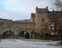 Bridge and buildings. In Bath Stock Photography