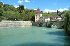 Bridge and buildings at Aare river in Bern, Switzerland Royalty Free Stock Images