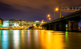 Bridge and buildings along the Washington Channel at night, in W Royalty Free Stock Photo
