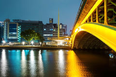 Bridge and buildings along Yodo river Royalty Free Stock Images