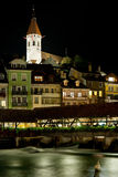 Bridge and buildings in Thun at night Royalty Free Stock Image