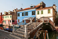 Bridge in Burano. Bridge crossing the canal in the colorful town of Burano stock photo