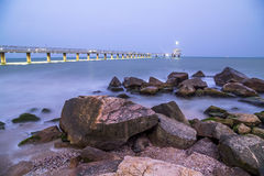 Bridge in Burgas at night Stock Image