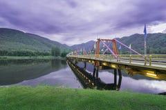 Bridge in Buumibol dam tak thailand in the evening . Royalty Free Stock Photography