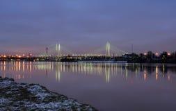 Bridge cable-stayed;. St. Petersburg, Bolshoy obuhovskiy bridge across the Neva river stock photography