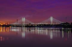 Bridge cable-stayed;. St. Petersburg, Bolshoy obuhovskiy bridge across the Neva river royalty free stock image