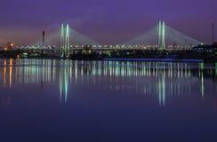 Bridge cable-stayed;. St. Petersburg, Bolshoy obuhovskiy bridge across the Neva river royalty free stock photo