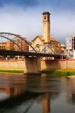 Bridge called Pont de l'Estat over Ebro river and church in Tor Royalty Free Stock Photos