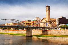 Bridge called Pont de l'Estat over Ebro river in Tortosa Royalty Free Stock Images