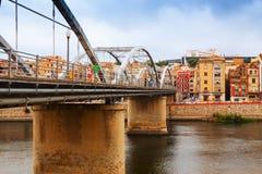 Bridge called Pont de l'Estat over Ebro river in Tortosa Stock Images