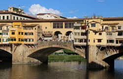 Bridge called Ponte Vecchio in Florence Italy over Arno River Royalty Free Stock Images