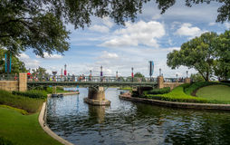 Bridge and Canal at the Epcot Center Royalty Free Stock Image