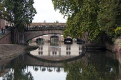 Bridge on the canal, Strasbourg Frence. Bridge on the canal, Strasbourg's Old Town – France, Alsace stock photo