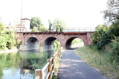 Bridge, Canal Villoresi Italy Stock Images