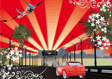 Bridge, car and airplane illustration Royalty Free Stock Image