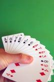 Bridge cards. Playing bridge - one hand (A,K,J,8,7,6 spades, A,Q,7,3 hearts, 9,4 diamonds, 8 club Stock Images