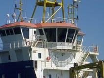 Bridge of cargo boat royalty free stock photos