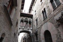 Bridge at Carrer del Bisbe in Barri Gotic, Barcelona Royalty Free Stock Image