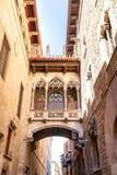 Bridge at Carrer del Bisbe in Barri Gotic, Barcelona Stock Photos