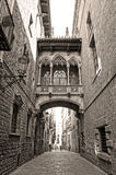 Bridge at Carrer del Bisbe in Barri Gotic (Bishop Street), Barcelona Stock Photo