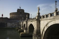 Bridge and Castel Sant'Angelo in Rome. Stock Photography