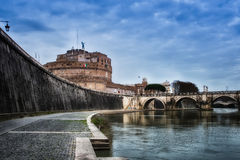 Bridge of Castel St. Angelo Royalty Free Stock Photography