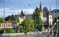 Bridge and castle in Bern. Bridge and castle in Bern, Switzerland Stock Photo