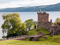Bridge and Castle buildings. Urquhart castle, Loch Ness, Highlands, Scotland, U.K Stock Photos
