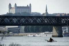Bridge, castle and cathedral in Bratislava Stock Image