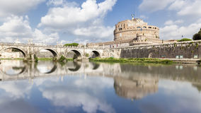 Bridge and Castle Sant Angelo with reflection in the water in Ro Stock Photography