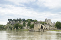 Bridge and Cathedral, Avignon, France Stock Photo