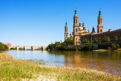 Bridge and Cathedral from Ebro river. Zaragoza Stock Photography
