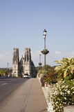 Bridge and cathedral of pont a mousson. In France Royalty Free Stock Image
