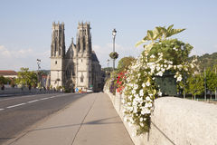 Bridge and cathedral of pont a mousson Royalty Free Stock Photography