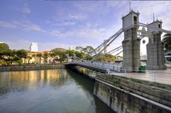 bridge cavenaghfloden singapore Arkivfoto