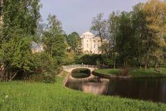 Bridge of centaurs and Pavlovsk Palace Royalty Free Stock Image