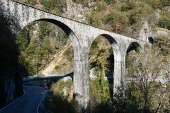 The bridge of Centovallina train on Centovalli valley Stock Photos