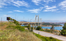 Bridge of Chalkis, Euboea, Greece. A HDR photo created from 3 exposures of the Bridge of Chalkis, Greece royalty free stock image