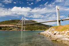 Bridge of Chalkis, Euboea, Greece. The Chalkis Bridge connects the island of Euboea with the mainland of Greece stock photos