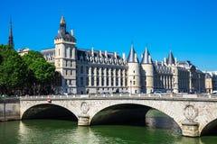 Bridge of Change Pont au Change over river Seine and Concierge Stock Photography