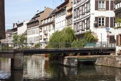 Bridge on the channel. In Strasbourg stock images