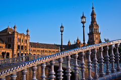 Bridge through the channel on the Spain`s Square Royalty Free Stock Image