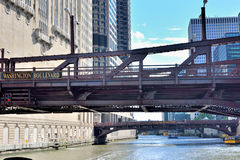 Bridge of Chicago river and city buildings. Bridge of Chicago river and downtown buildings group by Chicago river, Chicago, Illinois, United States Stock Photos
