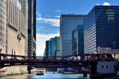 Bridge on Chicago river and city buildings Royalty Free Stock Image
