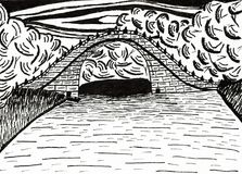 Bridge in the Chinese Garden in Frankfurt / Main. It is an hand drawn ink drawing Royalty Free Stock Photos